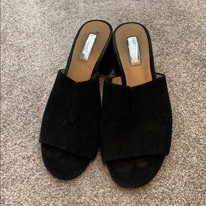 Velvet leather slide on open toe heels